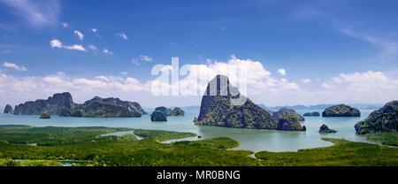 Panoramic view spectacular limestone karst landscape from Samet Nangshe viewpoint Phang Nga Bay Thailand - Stock Photo