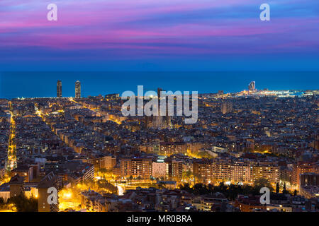 Top view of Barcelona city skyline during evening in Barcelona, Catalonia, Spain. - Stock Photo
