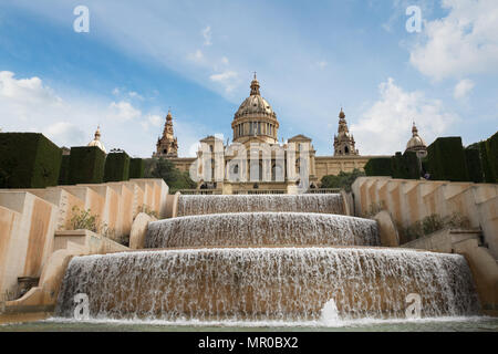 Barcelona Placa De Espanya, the National Museum with magic fountain in afternoon at Barcelona. Spain. Famous landmark in Spain. - Stock Photo