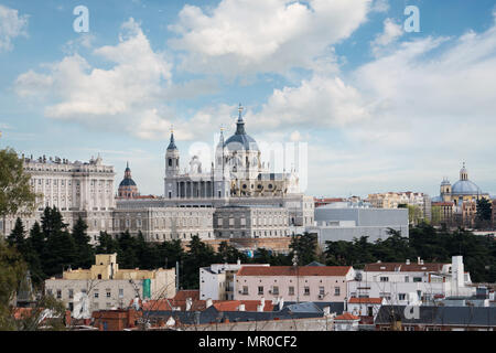 Madrid landmark. Landscape of Santa Maria la Real de La Almudena Cathedral and the Royal Palace. Beautiful skyline at Madrid, Spain. - Stock Photo