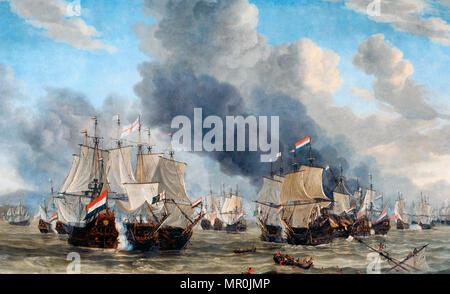 The naval battle near Livorno, March 14, 1653. Reinier Nooms - Stock Photo