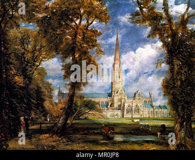 Salisbury Cathedral from the Bishop's Grounds by John Constable circa 1825. - Stock Photo