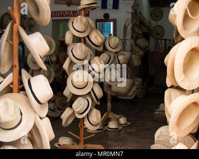Shop selling Panama hats in Trinidad, Cuba - Stock Photo