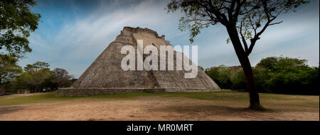 The Pyramid of the Magician (Pirámide del Mago) Uxmal, Mexico - Stock Photo