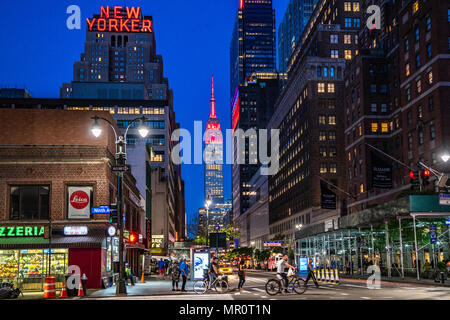 New York, USA. 24 May 2018 - The Empire State Building is lit in red in honor of Red Nose Day, a fundraising campaign to end child poverty.  Globally, Red Nose Day has raised over $1 billion since its launch in the UK in 1988.  Photo by Enrique Shore/Alamy Live News