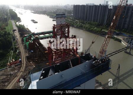 May 23, 2018 - Huai'An, Huai'an, China - Huai'an, CHINA-23rd May 2018: The Huaihai Road Bridge over Beijing-Hangzhou Grand Canal is under construction in Huai'an, east China's Jiangsu Province. Credit: SIPA Asia/ZUMA Wire/Alamy Live News - Stock Photo