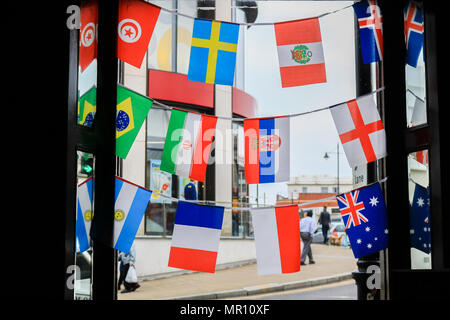 Wimbledon London,UK.  25th May 2018. Bunting for 32 qualifiying nations of the 2018 Russia World Cup  are displayed in a pub in Wimbledon as the countdown begins until the start of the major international soccer tournament which begins on 14 June 2018 Credit: amer ghazzal/Alamy Live News - Stock Photo
