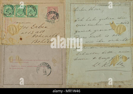 Front and backside of vintage envelope and letter sent from Belgium to Bohemia in Germany in 1900 - Stock Photo