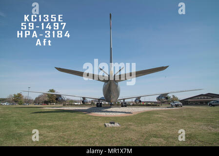 An aft view of a 108th Wing, New Jersey Air National Guard, KC-135E sitting on display at Joint Base McGuire-Dix-Lakehurst, New Jersey, April 3, 2017. KC-135E, 59-1497, HPA-3184, Aft - Stock Photo