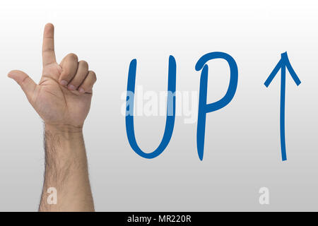 Hand gesture show up. UP text with an up arrow. hand sign upstairs. Hand pointing upwards on whiteboard with text Up - Stock Photo