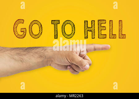 Go to hell concept. Hand showing the way to the hell. Finger pointing the direction to the hell - Stock Photo