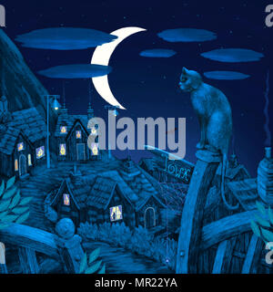 An illustration of a cat sitting on the top of a sign post, looking across a village, on the hillside, in the moonlight. - Stock Photo
