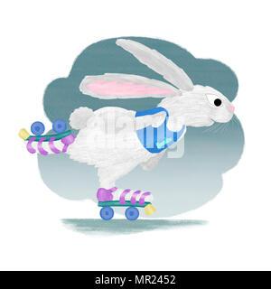 An illustration of a white rabbit on roller skates. - Stock Photo