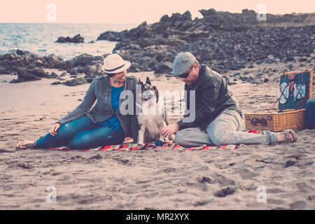 family with a border collie dog doing pic nic activity on the beach in vacation, summer lifestyle with friends concept. old style and vintage filter - Stock Photo