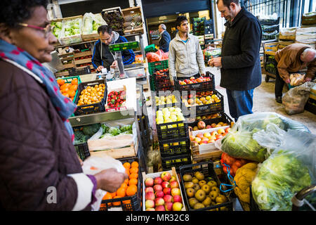 Fruit and vegetable section of the Mercado da Ribeira in Lisbon, Portugal. - Stock Photo
