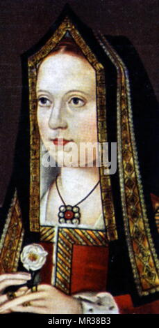 Cigarette card depicting Elizabeth of York (1466-1503) Queen of England as the fifth wife of Henry VII. Dated 19th century - Stock Photo