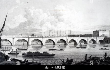 Engraving depicting Waterloo Bridge across the River Thames. Built by John Rennie the Elder (1761-1821) a Scottish civil engineer who designed many bridges, canals, and docks. Dated 19th century - Stock Photo