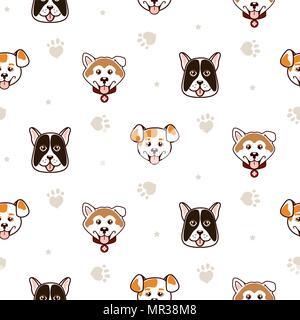 Cute dogs animal seamless vector pattern. - Stock Photo