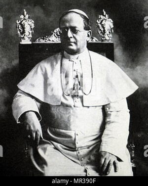 Photographic portrait of Pope Pius XI (1857-1939) head of the Catholic Church. Dated 20th century - Stock Photo