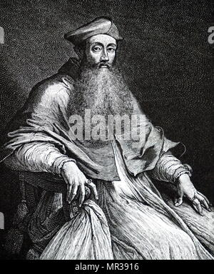 Portrait of Cardinal Reginald Pole (1500-1558)  an English cardinal of the Roman Catholic Church and the last Roman Catholic Archbishop of Canterbury, holding the office from 1556 to 1558, during the Counter Reformation. Dated 16th century - Stock Photo