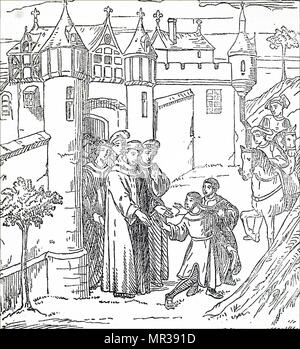 Engraving depicting Marco Polo (1254-1324) a Venetian merchant, explorer, and writer. Dated 14th century - Stock Photo