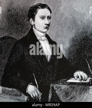 Portrait of Isaac Pitman (1813-1897) an English teacher who developed the most widely used system of shorthand, known now as Pitman shorthand. Dated 19th century - Stock Photo