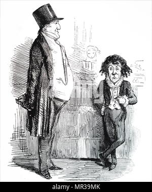 Cartoon depicting Sir Robert Peel with Benjamin Disraeli. Peel, who had been strongly criticised by Disraeli for repealing the Corn Laws, is shown asking Disraeli what he is going to do in the new session of Parliament. Sir Robert Peel (1788-1850) a British statesman, former Prime Minister, former Home Secretary and the father of modern British policing and the modern Conservative Party. Benjamin Disraeli (1804-1881) a British statesman of the Conservative Party and former Prime Minister. Dated 19th century - Stock Photo