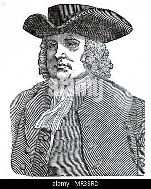 Portrait of William Penn (1644-1718) an English real estate entrepreneur, philosopher, early Quaker, founder of the State of Pennsylvania. Dated 19th century Stock Photo
