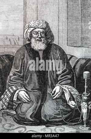 Portrait of Muhammad Ali of Egypt (1769-1849) an Ottoman Albanian commander in the Ottoman army, who rose to the rank of Pasha, and became Wāli, and self-declared Khedive of Egypt and Sudan with the Ottomans' temporary approval. Dated 19th century - Stock Photo