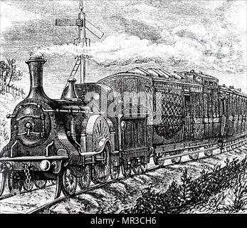 Illustration depicting a mail train on the Great Northern Line. Dated 19th century - Stock Photo