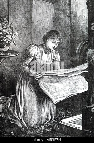 Illustration depicting a young lady reading a newspaper. Illustrated by Mary Ellen Edwards (1838-1934) an English artist. Dated 19th century - Stock Photo
