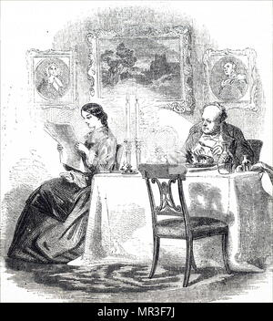 Illustration depicting a young lady reading a newspaper at the breakfast table. Dated 19th century - Stock Photo