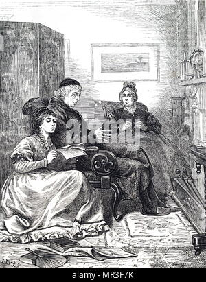 Illustration depicting a young lady reading a newspaper aloud to her mother and father. Dated 19th century - Stock Photo