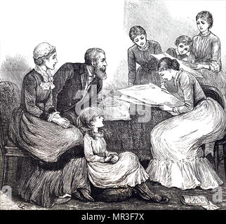 Illustration depicting a young lady reading a newspaper aloud to her family. Illustrated by Mary Ellen Edwards (1838-1934) an English artist. Dated 19th century - Stock Photo