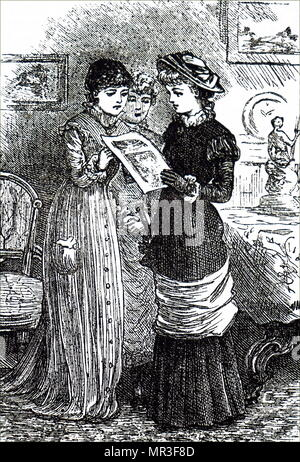 Illustration depicting three young ladies reading a magazine. Dated 19th century - Stock Photo