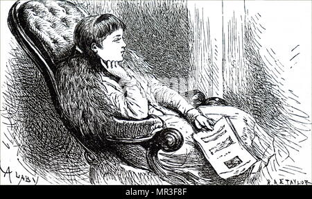 Illustration depicting a young girl reading a magazine. Dated 19th century - Stock Photo
