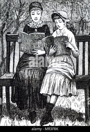 Illustration depicting two young ladies reading on a park bench. Dated 19th century - Stock Photo