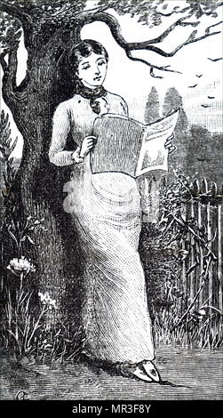 Illustration depicting a young lady reading in the garden. Dated 19th century - Stock Photo