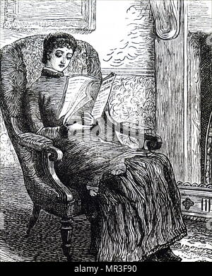 Illustration depicting a girl reading a magazine. Dated 19th century - Stock Photo