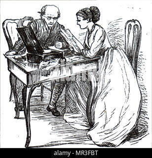 Illustration depicting a young woman re-reading a letter she had just written to her father. Dated 19th century - Stock Photo