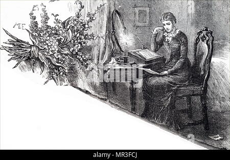 Illustration depicting a young woman reading through a letter she has written with the quill pen in her hand. Illustrated by Mary Ellen Edwards (1838-1934) an English artist. Dated 19th century - Stock Photo