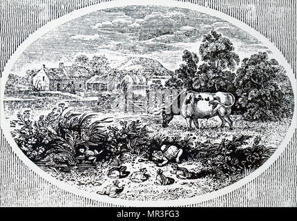 Headpiece by Thomas Bewick titled 'The Proud Frog and the Ox'. Thomas Bewick (1753-1828) an English engraver and natural history author. Dated 19th century - Stock Photo