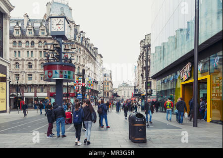 London, UK - April 2018: The Swiss Glockenspiel, free-standing clock rebuilt by the clockmakers Smith of Derby located west of Leicester Square