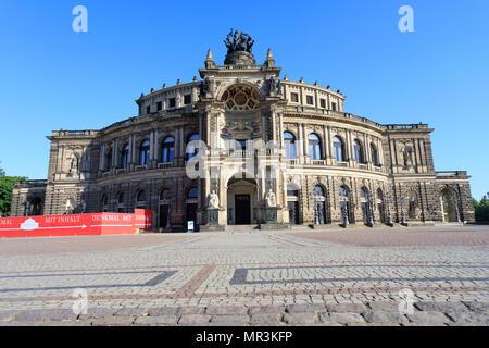 Dresden, Saxony. Frauenkirche house of Dresda, on a sunny day with blue sky. Germany landmark. 18.05.2018 - Stock Photo