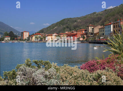Colorful houses in Porto Ceresio village popular holiday resort on Lugano lake, Italy  - Stock Photo