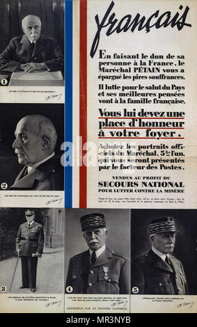 Marshall Philippe Petain appeals to the people of France on a Vichy French propaganda poster issued during World War two. 1941. Henri Philippe Petain (1856 – 1951), was a French general who  was later Chief of State of Vichy France, from 1940 to 1944 - Stock Photo