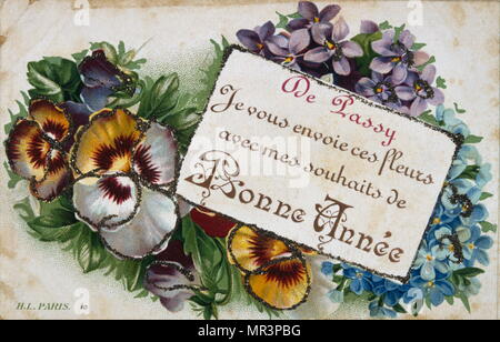 french happy new year postcard depicting flowers circa 1900 stock photo