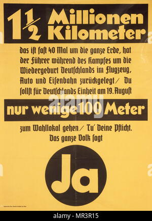 (pro-Nazi), propaganda poster for the German national election in march 1936. Parliamentary elections were held in Germany on 29 March 1936. They took the form of a single-question referendum, asking voters whether they approved of the military occupation of the Rhineland and a single party list for the new Reichstag composed exclusively of Nazis and nominally independent 'guests' of the party. - Stock Photo