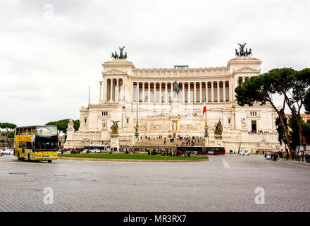 Rome, Italy, March 2017: view of Piazza Venezia with the Altar of the Fatherland in Rome, Italy - Stock Photo