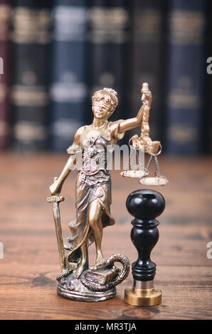 Law and Justice, Legality concept, Scales of Justice, Justitia, Lady Justice and notary seal. - Stock Photo
